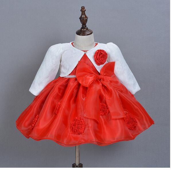 Baby Girl's Christmas Suits 2017 Winter Bow Christening Dress+Headband+Lace Coat Infant 3PCS Sets Kids Birthday Formal Outfits baby girl 1st birthday outfits short sleeve infant clothing sets lace romper dress headband shoe toddler tutu set baby s clothes