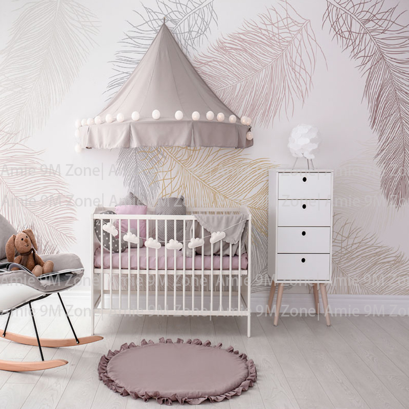 Soft Pale White And Cream Color Feather Drawing Wall Background Decor Wallpaper Children Wallpapers Kid's Nursery Room
