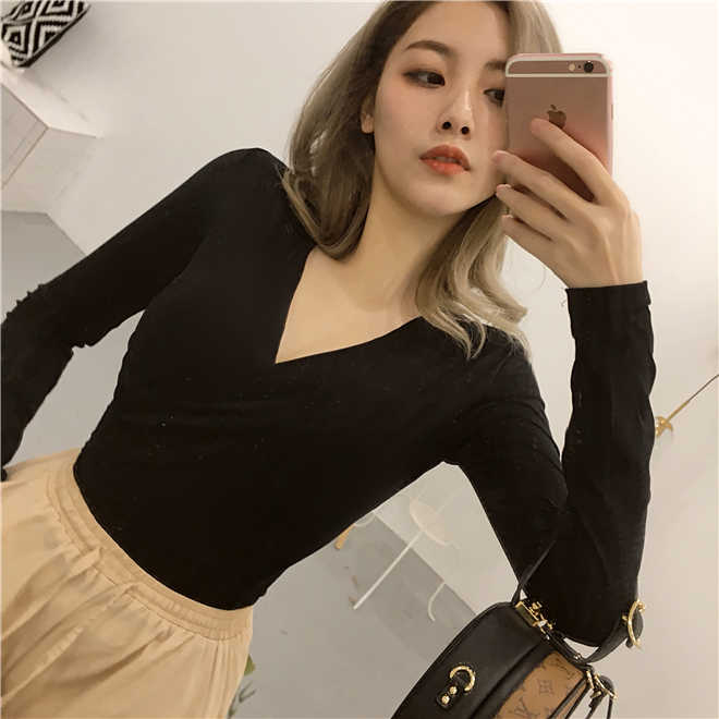 01e051a7b928 Big V Neck Sexy Long Sleeve T Shirt Women Top Short Slim Fit Spring Tee  Shirt