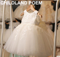 2016 Lace Tulle Flower Baby Girl Dress Princess Communion Dresses christening Baptism Girls Dress for Wedding Party robe fille