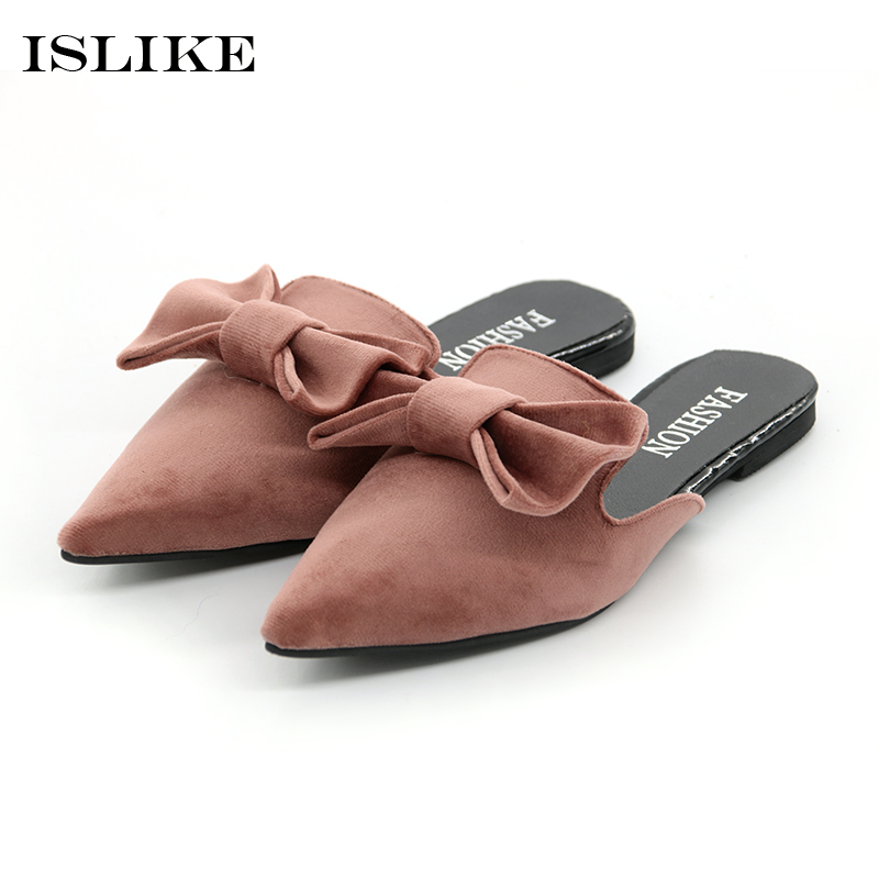 Coolsa 2018 New Fashion Women Bow Slippers Lovely Butterfly-knot Suede Mule Shoes Flat Non-slip Outdoor Casual Slip on Sandals coolsa new summer linen women slippers fabric eva flat non slip slides linen sandals home slipper lovers casual straw beach shoe
