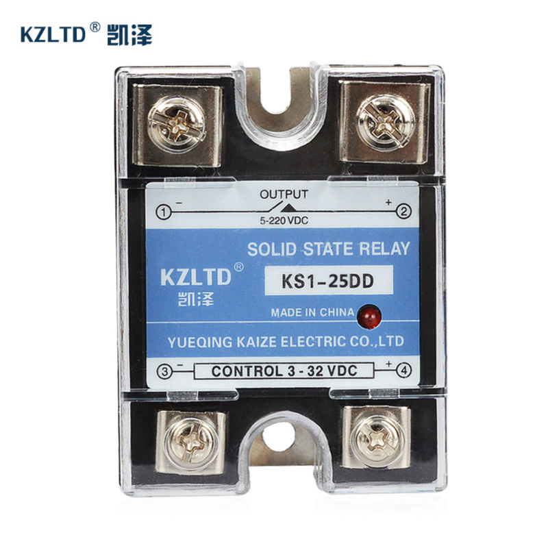 DC-DC 25A Solid State Relays SSR-25DD 3~32V DC to 5~220V DC  Relay 24V with Aluminum Heat Sink Plate KS1-25DD Explosion-proof normally open single phase solid state relay ssr mgr 1 d48120 120a control dc ac 24 480v