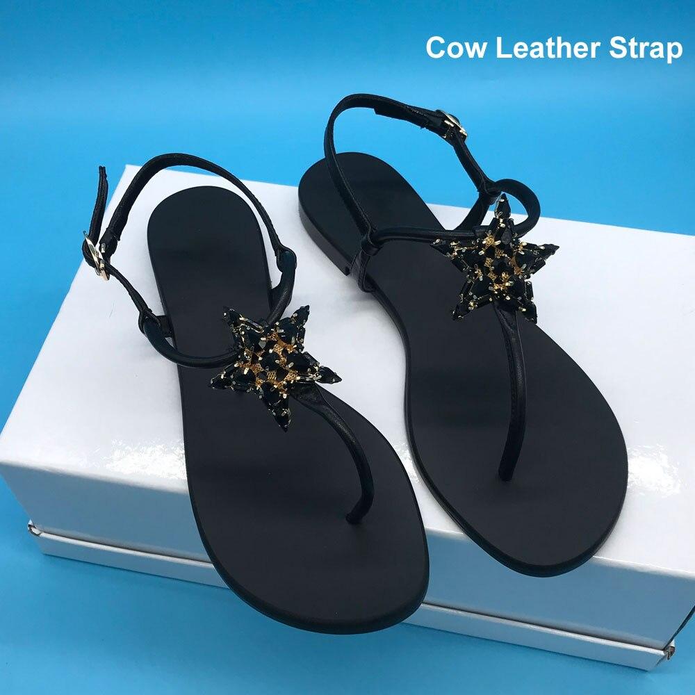 Sandalias de mujer con diseño de diamantes de imitación de estrella negra sandalias de tiras de playa G039 pisos de cuero de vaca-in Sandalias de mujer from zapatos    1