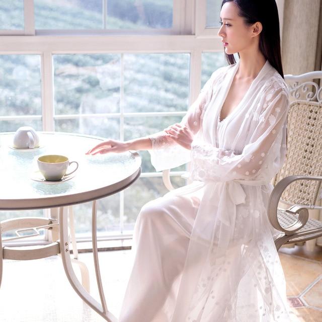 Two-Piece Dress Nightgown Princess Nightdress  pijama Ladies Sleepwear Night Robe Women nightwear roupao feminino