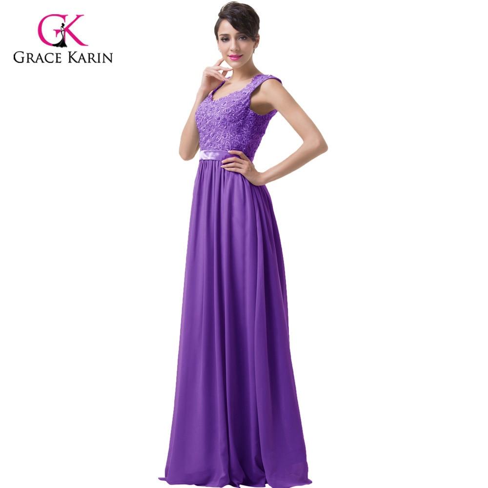 Elegante Stock Apliques Correas Gris Púrpura Barato Vestidos de dama ...