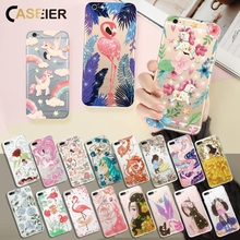 Caseier Cute Unicorn For iPhone 6 6S Case Rhinestone Glitter Flamingo Soft Shell Plus Girls Favorite