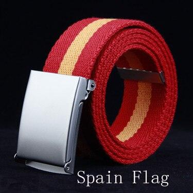 2018 New Fashion Red Orange Spain Flag Striped   Belt   For Man Male