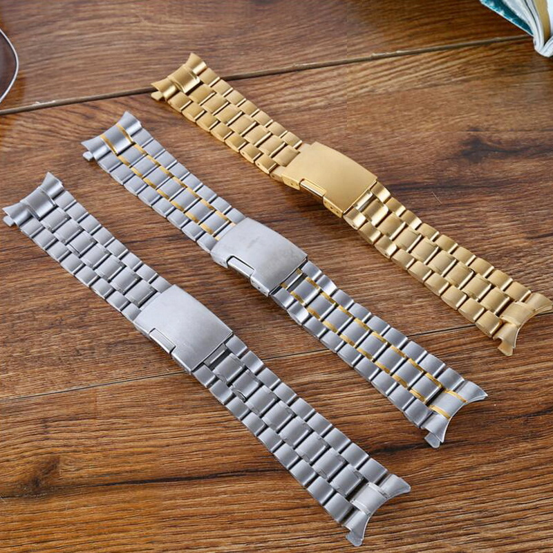 neway 16 18 20 22 24mm Silver Gold 316L Stainless Steel Curved End Wrist Watch Band Strap Replacement men metal Bracelet Belt zlimsn silver bracelet solid stainless steel watchband 18 20 22 24mm luxury military metal band replacement relogio feminino s15