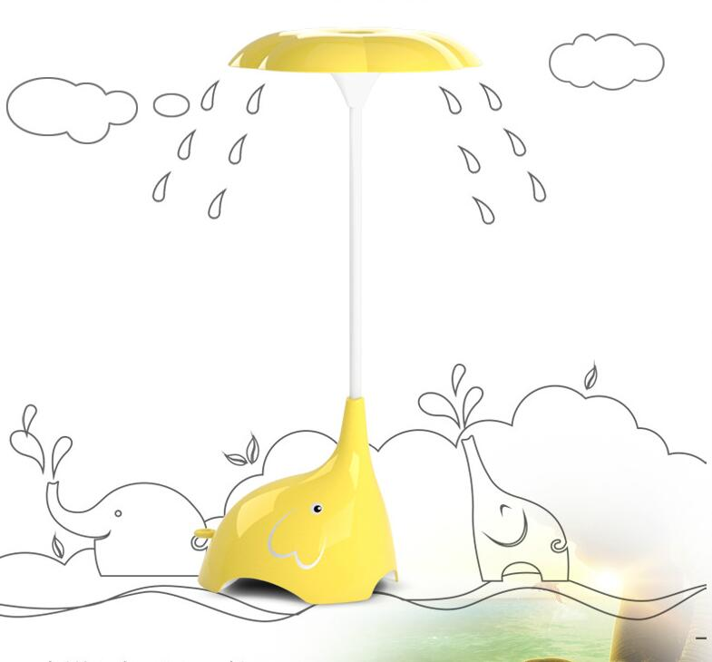 Elephant LED night light table lamps creative bedroom study yellow pink blue cute warm eye small table light desk lamps ZA9021