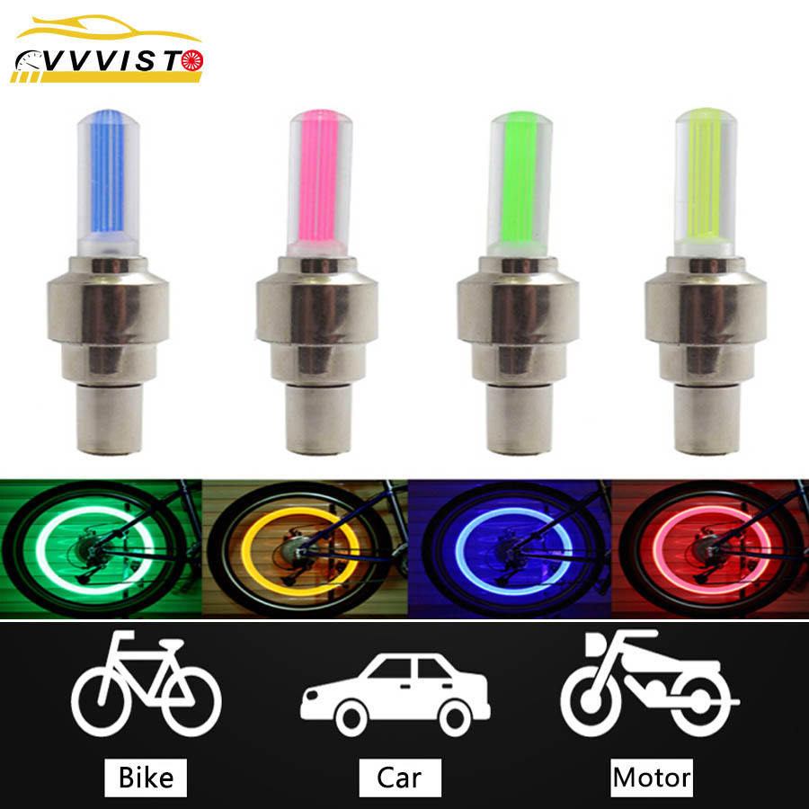 VVVIST 2PCS Bike Car Motorcycle Wheel Tyre Valve Cap Flash LED Light Lamp Caps On Car Wheels Tires Accessories Auto Car-styling
