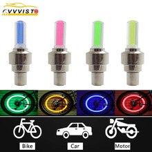 VVVIST 2PCS Bike Car Motorcycle Wheel Tyre Valve Cap Flash LED Light Lamp Caps On Wheels Tires Accessories Auto Car-styling