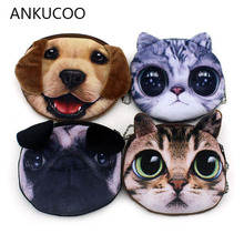 2018 Promotion 3D Oval Animal Prints Mini Children Coin Bags Women Storage Pouch Cute Cat Dog Wallets Kids Coin Purses For Gifts цена 2017
