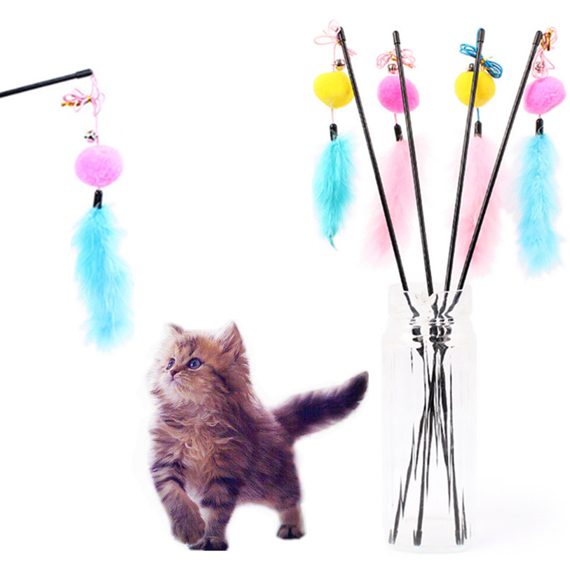 Pet Cat Teaser Furry Ball Feather Toys Cat Wand Cat Catcher Teaser Sticks Cat interactive training toys Wholesale noDC26