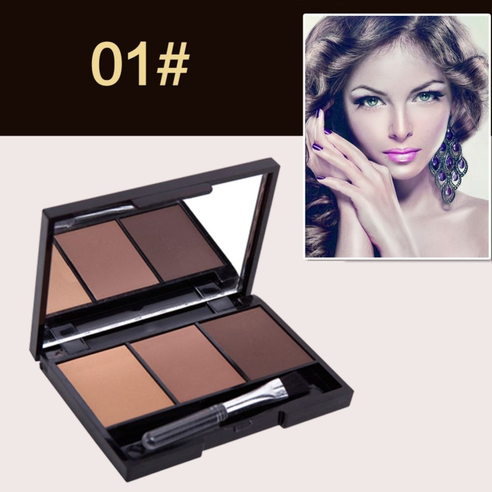 New Professional Kit 3 Color Eyebrow Powder Shadow Palette Enhancer with  Ended Brushes Hot Sale - us809 76abecf3ad6