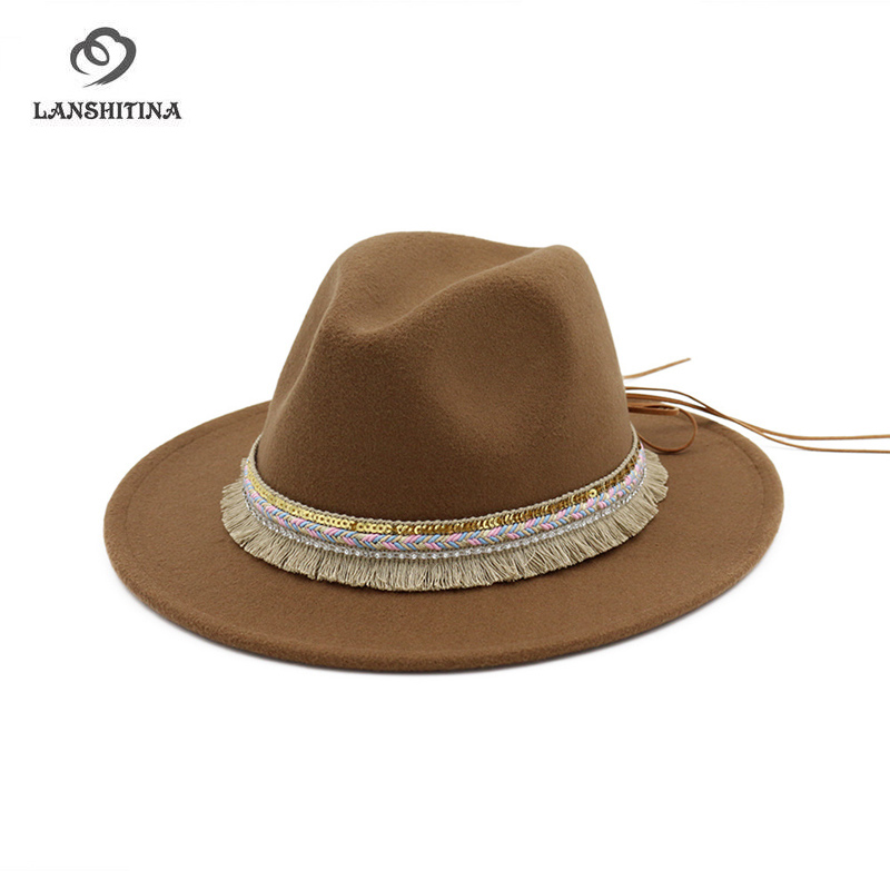 High Quality Wide Flat Brim Wool Felt Formal Party Trilby Fedora Hat  Fashion Men Women Lady Jazz ... aacb7b2b0e1b