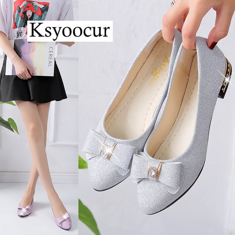 Brand Ksyoocur 2018 New Ladies Flat Shoes Casual Women Comfortable Pointed Toe Spring/autumn 18-030