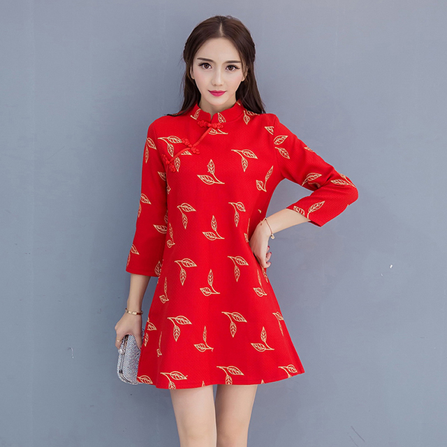 Gold Thread Embroidery Loose Vintage Dresses Red Cheongsam Dress Women Modern Chinese Dress Qipao Robe Chinoise Vestidos Curto