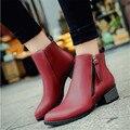 Outono único botas moda botas de salto grosso botas curtas feminino dedo apontado de envolvimento pé Das Mulheres botas casuais
