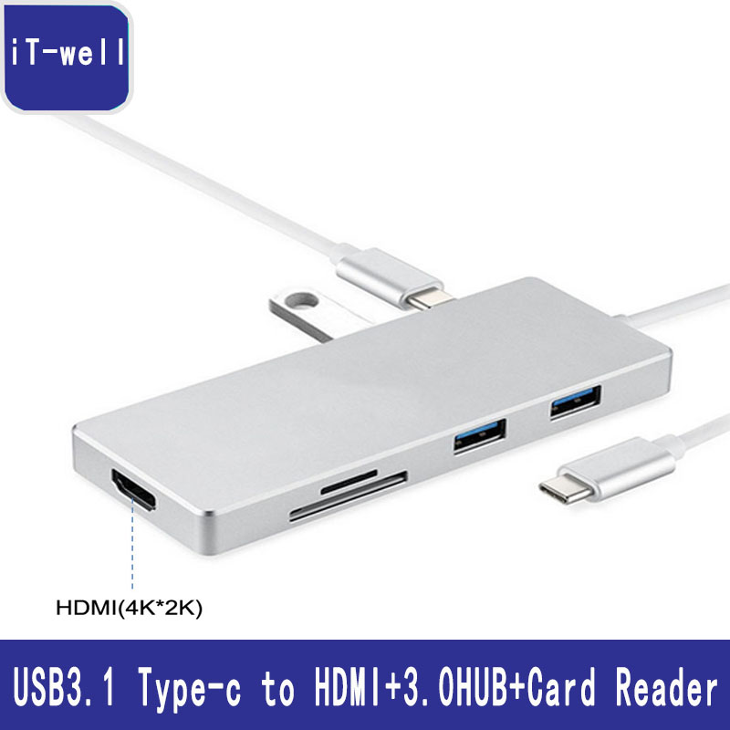USB Type-C to HDMI USB3.0 Hub & SD TF(Micro SD) Card Reader USB-C 4k*2k HDMI Converter for Air Pro Chromebook Type-C Laptop usb c lan hub type c to hdmi male 3hz type c pass through ethernet sd micro card reader and 3 usb 3 0 ports 10 pieces lot
