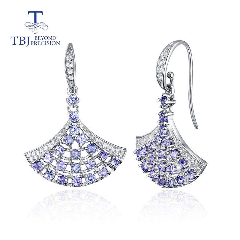 TBJ Dancing girl natural 3ct blue tanzanite hook earring 925 sterling silver fine jewelry for women
