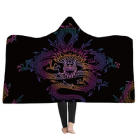 New Arrival 3D Blankets Chinese Dragon 3D Printing Hooded Blanket Black Wearable Portable Blankets Home Kids Adults