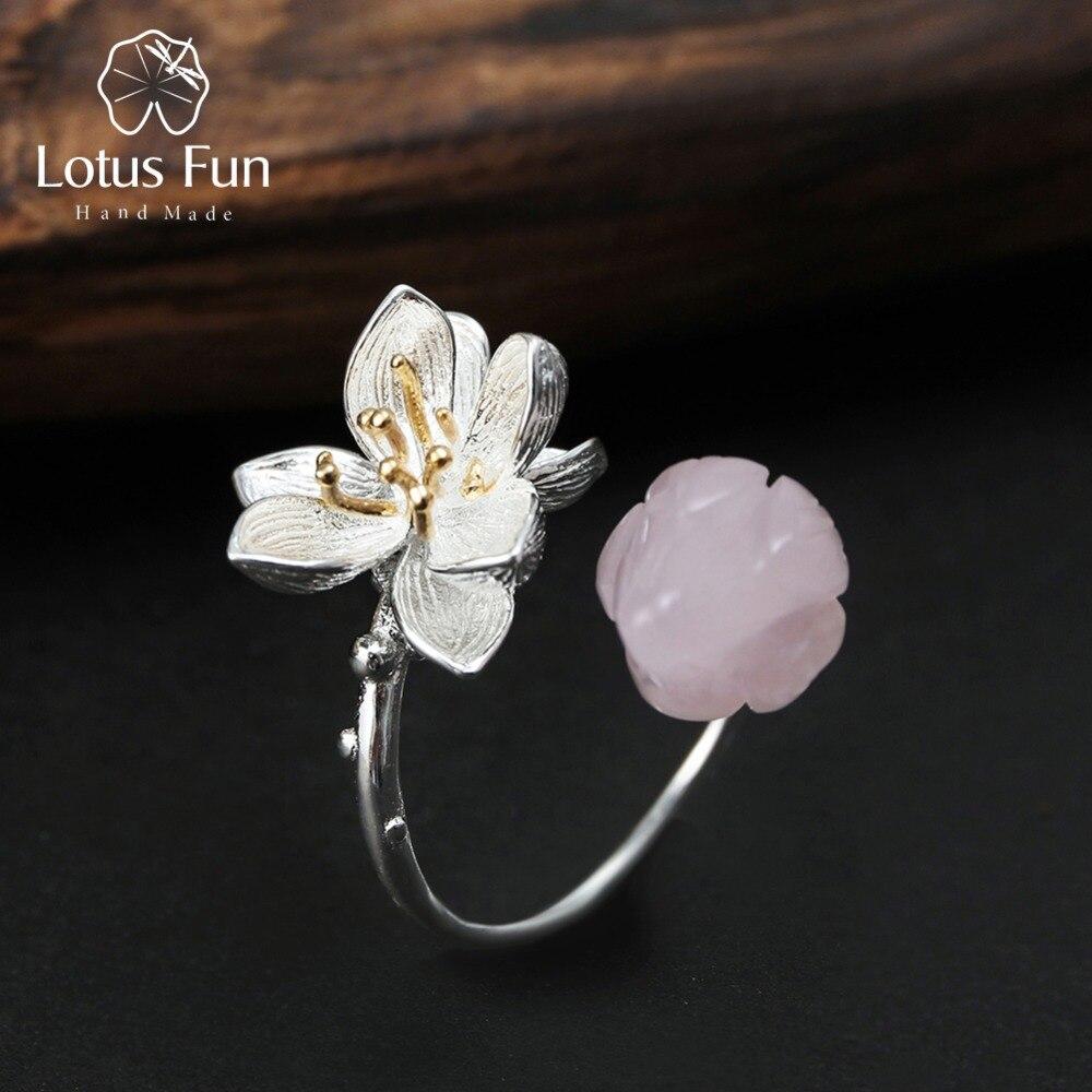 Lotus Fun Real 925 Sterling Silver Natural Rose Quartz Handmade Fine Jewelry Flower Ring Lotus Whispers Rings for Women Bijoux