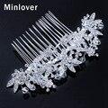 Minlover 2015 Simulated Pearl Hair Comb for Women Flower Shape Crystal Hair Pins Rhinestone Wedding Hair Accessories FS058