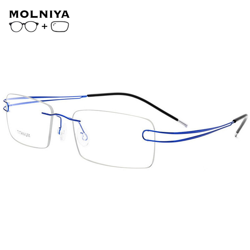 2019 Titanium Prescription Glasses Rimless Glasses Men Women Fashion Business Titanium Eyeglasses Men Accessories