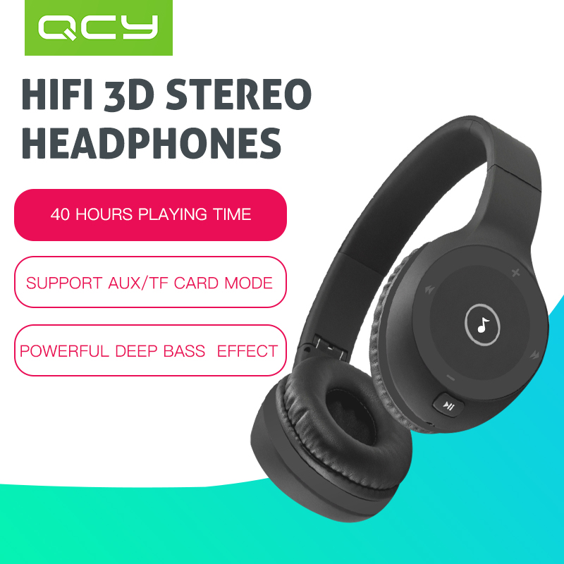 QCY J1 noise cancelling 4 1 wireless Bluetooth headphones with Microphone HIFI 3D stereo sound headsets