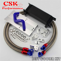 AN10 13 Row Oil Cooler + Oil Lines Kit Fits For VW Golf MK7 GTI Engine EA 888 III Black/Silver