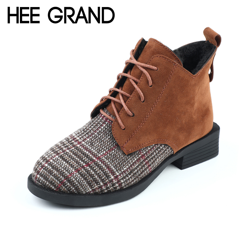 HEE GRAND 2018 Faux Suede Women Ankle Boots Lace Up Casual Shoes Woman Gladiator Round toe Women Flats Shoes XWX6695 hee grand lace up gladiator sandals 2017 summer platform flats shoes woman casual creepers fashion beach women shoes xwz4085