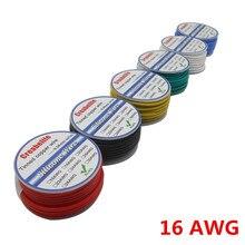 10 m 16 awg 유연한 실리콘 와이어 rc 케이블 od 3.0mm 라인 6 색 스풀 선택 주석 도금 구리 와이어 전기 와이어