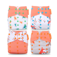 Diapers 4 Pcs Lot Washable Baby Cloth Cover Fraldas Waterproof Cartoon Adjustable Reusable Nappy Unisex One