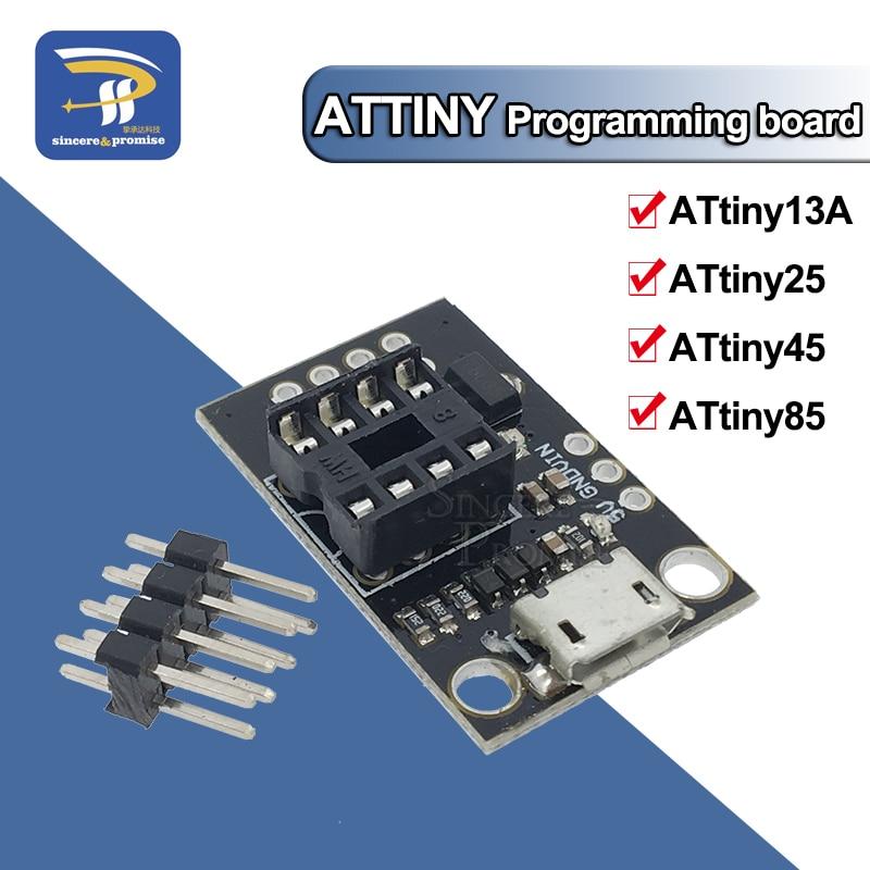 Pluggable ATTINY Development Board For ATtiny13A/ATtiny25/ATtiny45/ATtiny85 Programming Editor Micro Usb Power Connector