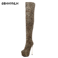 Women Fur Boots High Heel Over The Knee Boots Sexy Pumps Leopard Boot Warm Winter Shoes