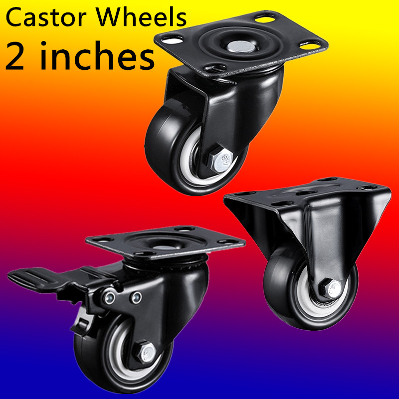 2pcs 2 inches 50mm Bearing Capacity 100kg Black Trolley Wheels Caster Rubber Swivel Casters for Office Chair Sofa Platform 2pcs black plastic 40mm replacement angle brake swivel casters office chair sofa wheels rolling roller caster furniture hardware