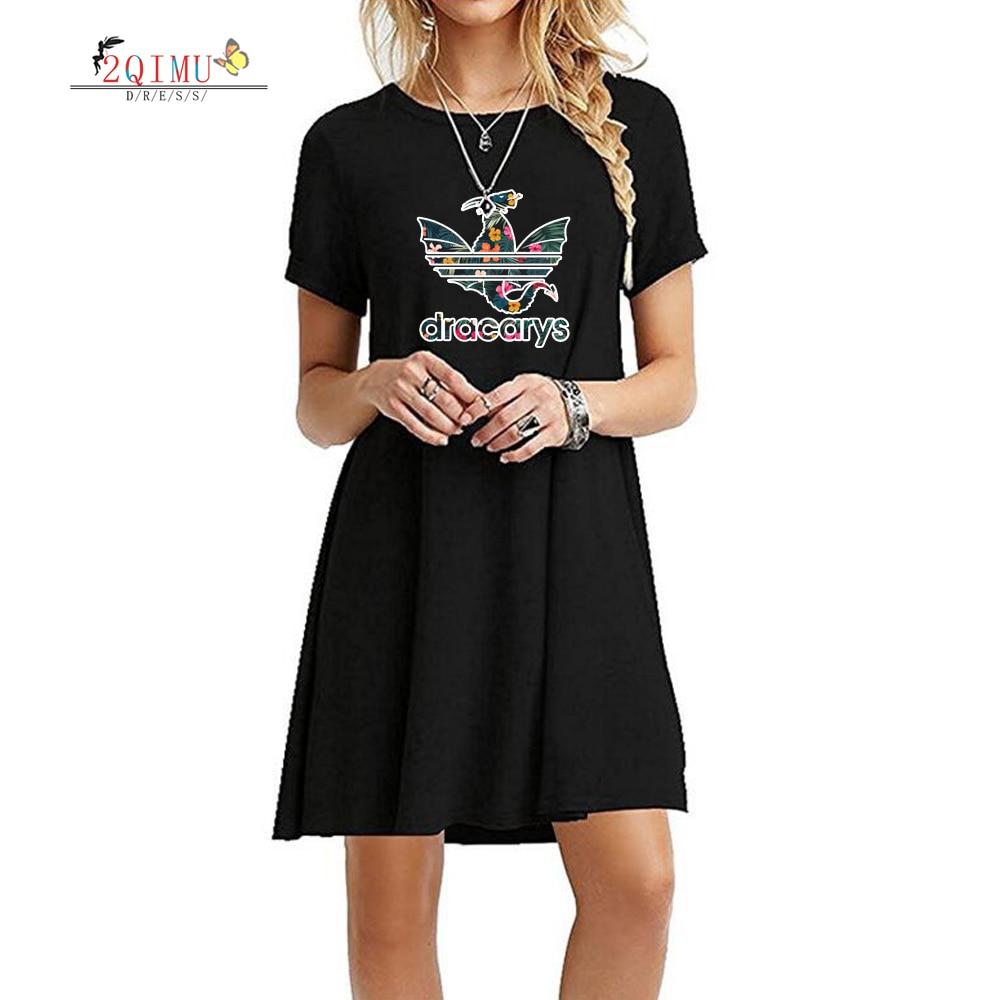 2QIMU 2019 Hot Cartoon Print Summer Fashion Casual Dress Female A-Line O-Neck Lanon Women Knee-Length Short Sleeve