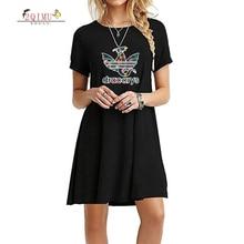 цены 2QIMU 2019 Hot Cartoon Print Summer Fashion Casual Dress Female A-Line O-Neck Lanon Dress Women Knee-Length Short Sleeve Dress