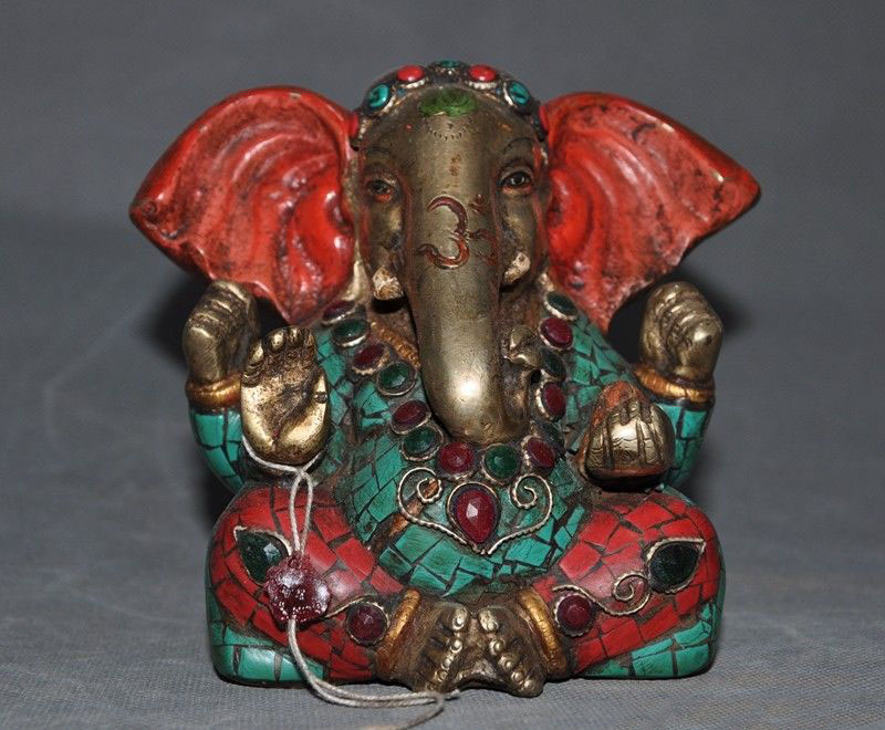 christmas Tibet bronze Gilt Inlay turquoise Red Coral gem 4 arms Elephant Jambhala statue halloweenchristmas Tibet bronze Gilt Inlay turquoise Red Coral gem 4 arms Elephant Jambhala statue halloween