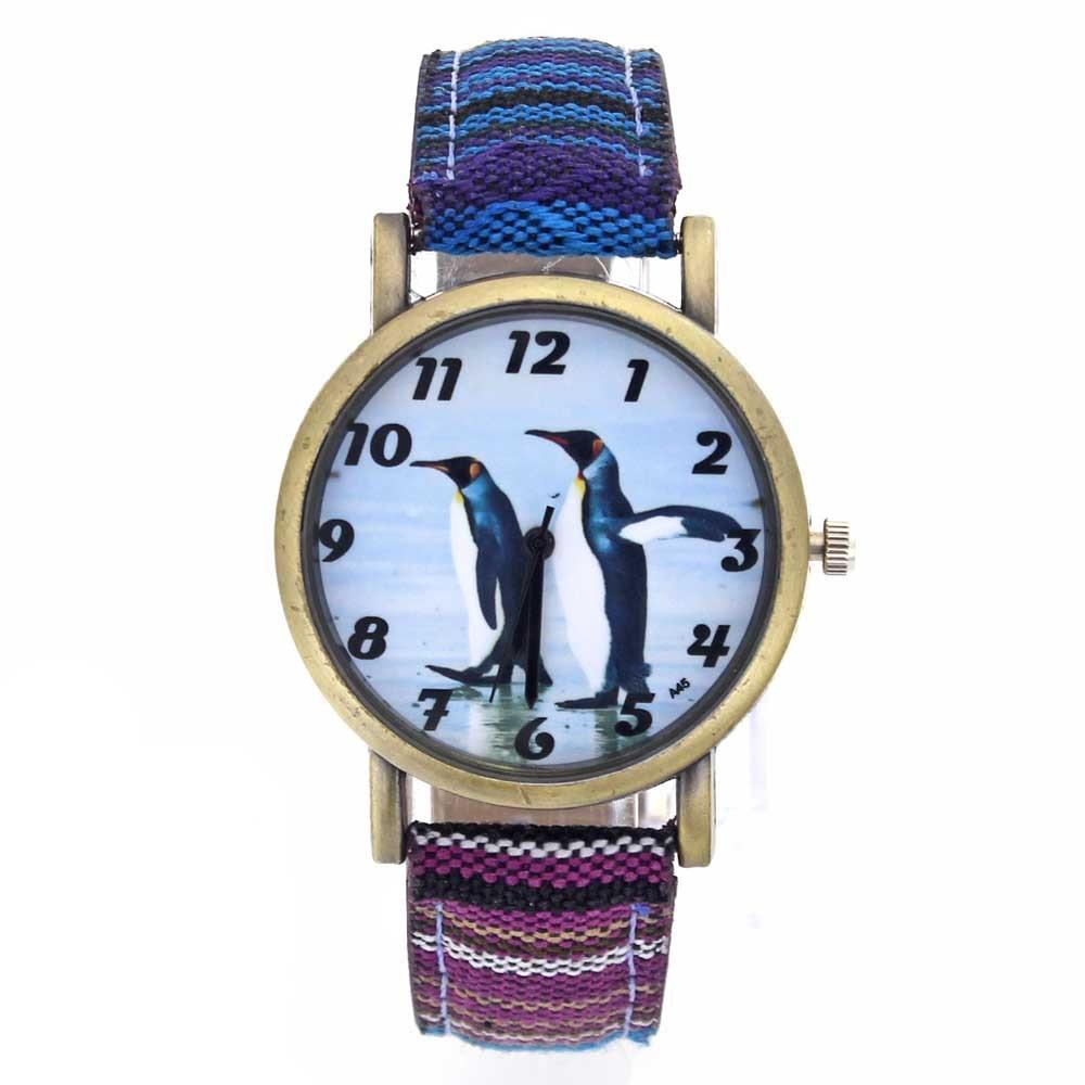 Penguin Pattern Antarctic Animal King Penguins Fashion Casual Men Women Canvas Cloth Strap Sport Analog Quartz Watch