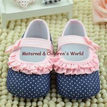Newest 0-12M Sweet Newborn Baby Girls Flower Ruffled Shoes Dot Toddler Soft Bottom Kids Blue Crib First Walkers