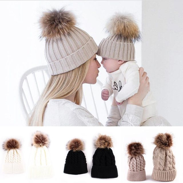 Mother Daughter Son Baby Boy Girl skullies ski Cap