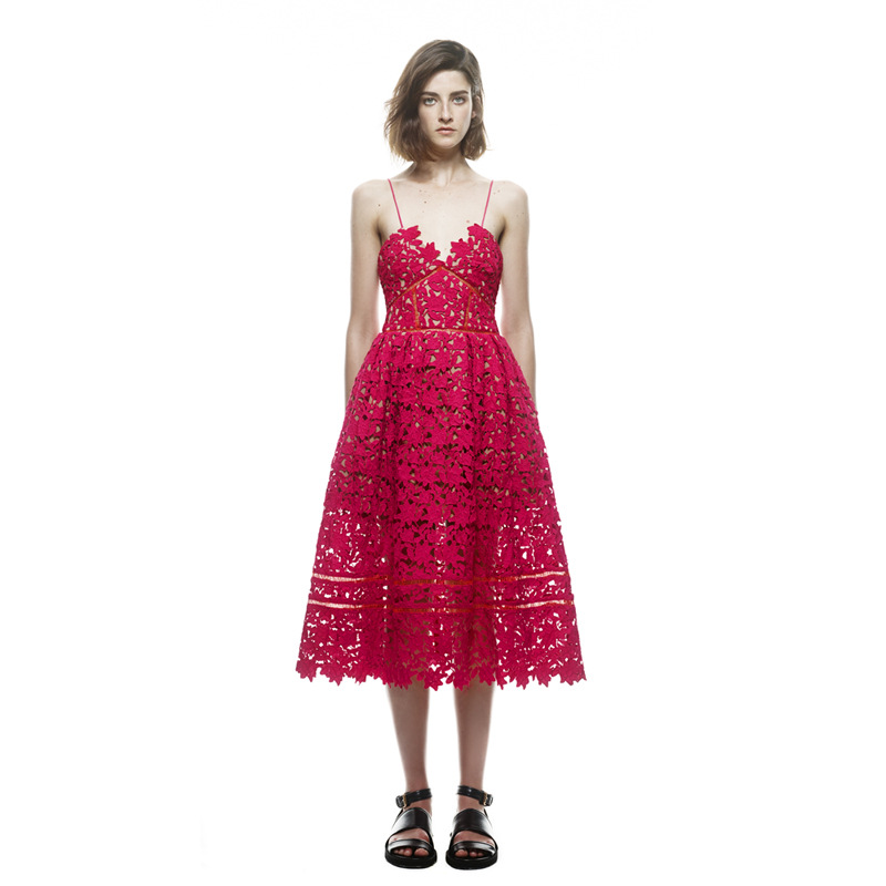 2018 Women Sexy Dress Red White Lace Party Hollow Out Nude Illusion A-Line New Ladies Sleeveless Beach Club Dresses ...