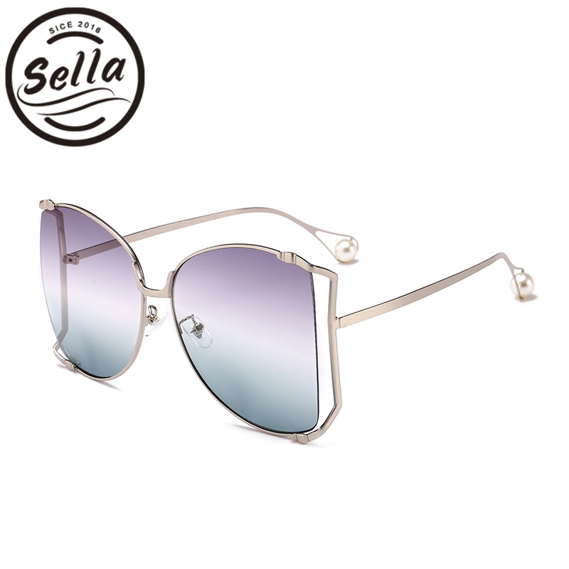 Sella 2018 New Fashion Oversized Square Sunglasses Brand Designer Candy Color Gradient Lens Hollow Cut Pupular Men Women Glasses