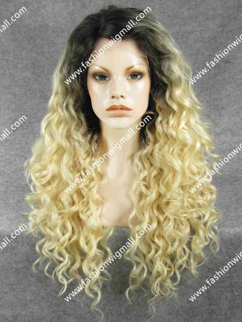 """Free Shipping W18 #2T613 26"""" Extra Long Curly 150% Density Heat Resistant Celebrity Brown Blonde Two Tone T Color Wig"""