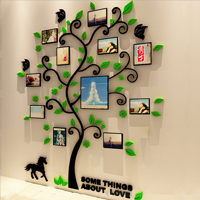 3 Size Colorful Picture Frame Tree 3d Acrylic Decoration