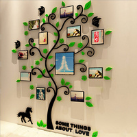 3 Size Colorful Picture Frame Tree 3D Acrylic Decoration Wall Sticker DIY Art Wall Poster Home