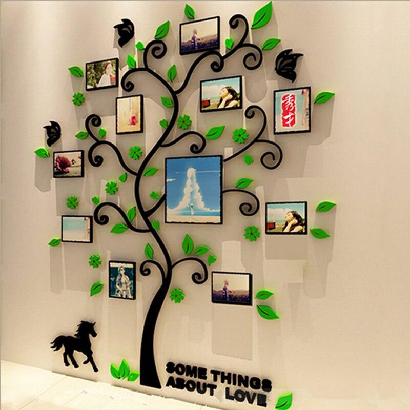 3 tamaño colorido árbol marco 3D acrílico decoración etiqueta de la ...