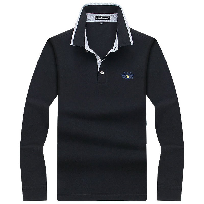 Men polo shirt mens long sleeve solid polo shirts camisa for Men s cotton polo shirts with pocket