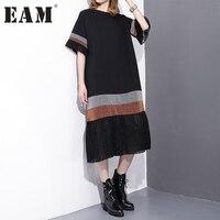 Soonyour 2017 Spring Fashion New Black Spelling Stripe Pleated Dress Loose Long Short Sleeve Dresses
